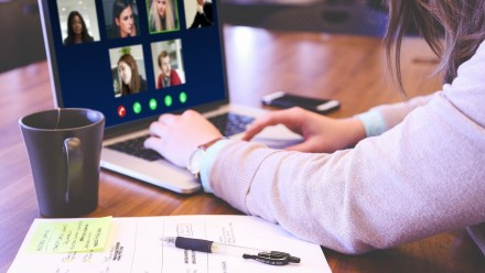 Photo of student learning online