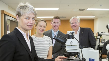 ANU Medical School Dean Professor Imogen Mitchell, ANU graduate Dr Eilidh Gilritchie, Year 3 medical student Greg Threlfall and ANU Vice-Chancellor Professor Brian Schmidt. Image: Stuart Hay, ANU.